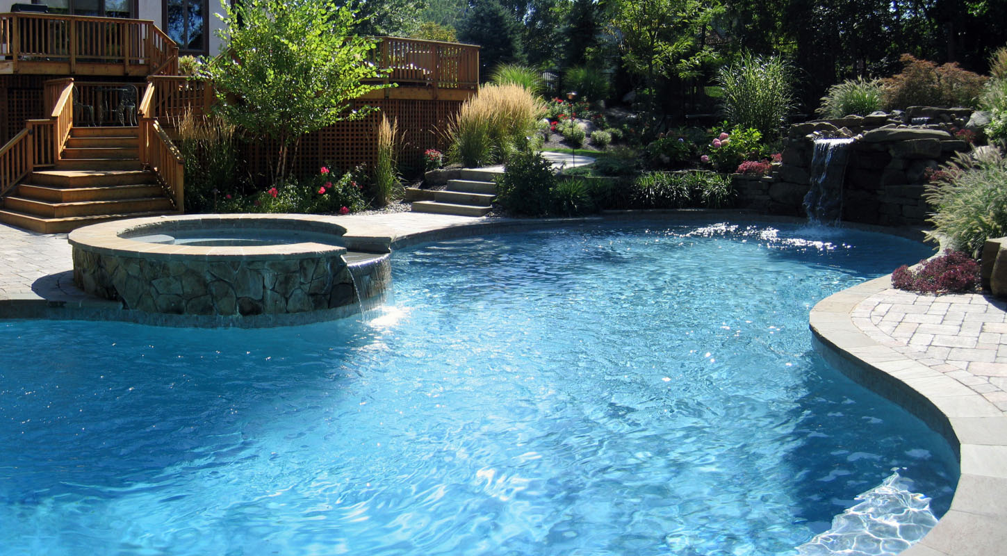 Custom Pool with Spa & Waterfall - North Jersey