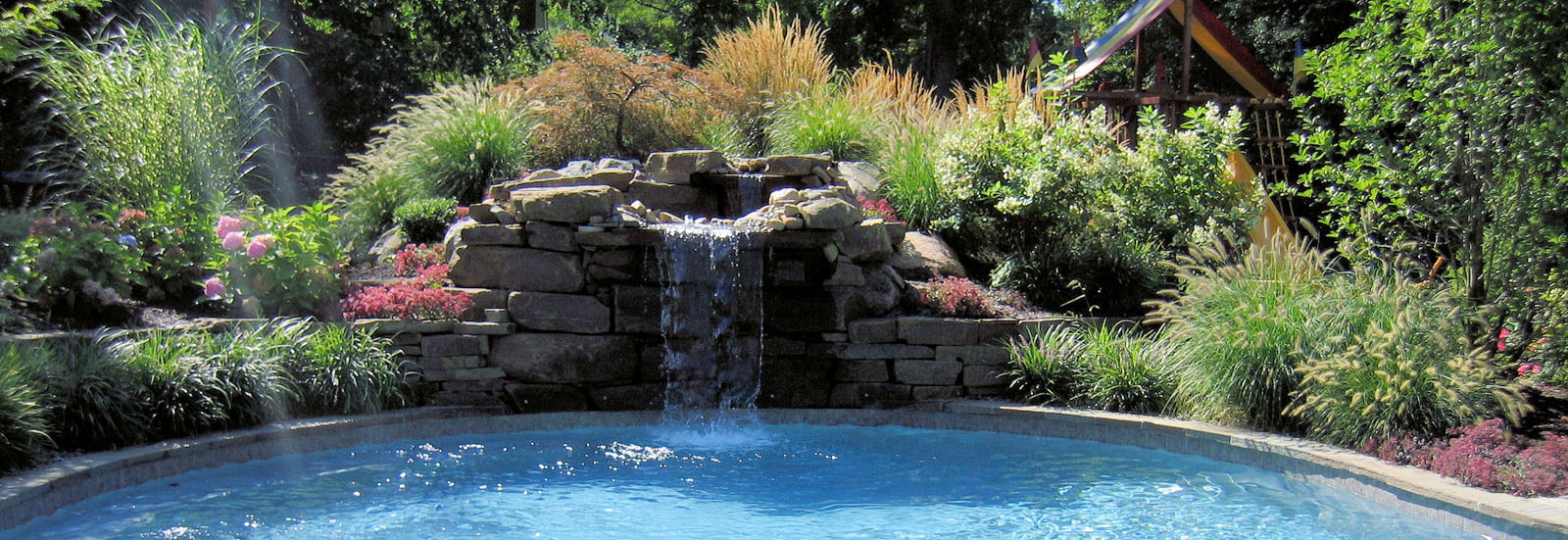 Natural Stone Pool Waterfall - North Jersey