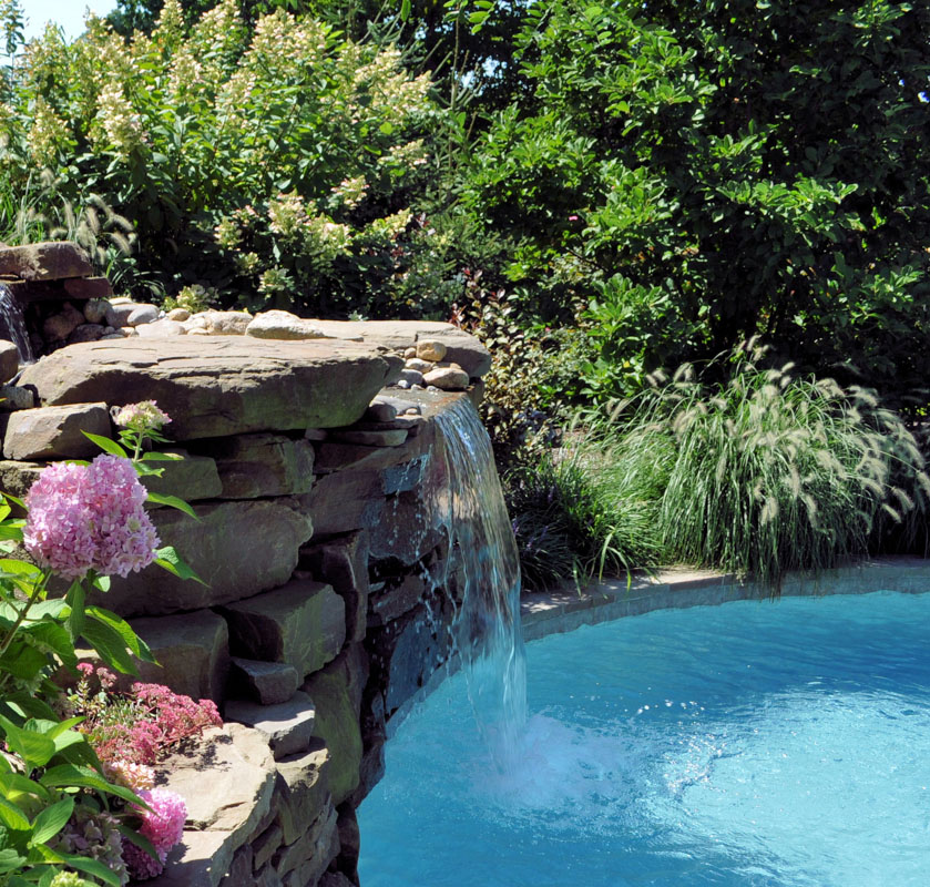 Side View Of Pool Waterfall - North Jersey