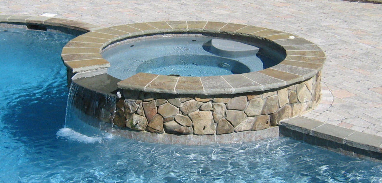 Custom Spa with Bluestone Coping - North Jersey