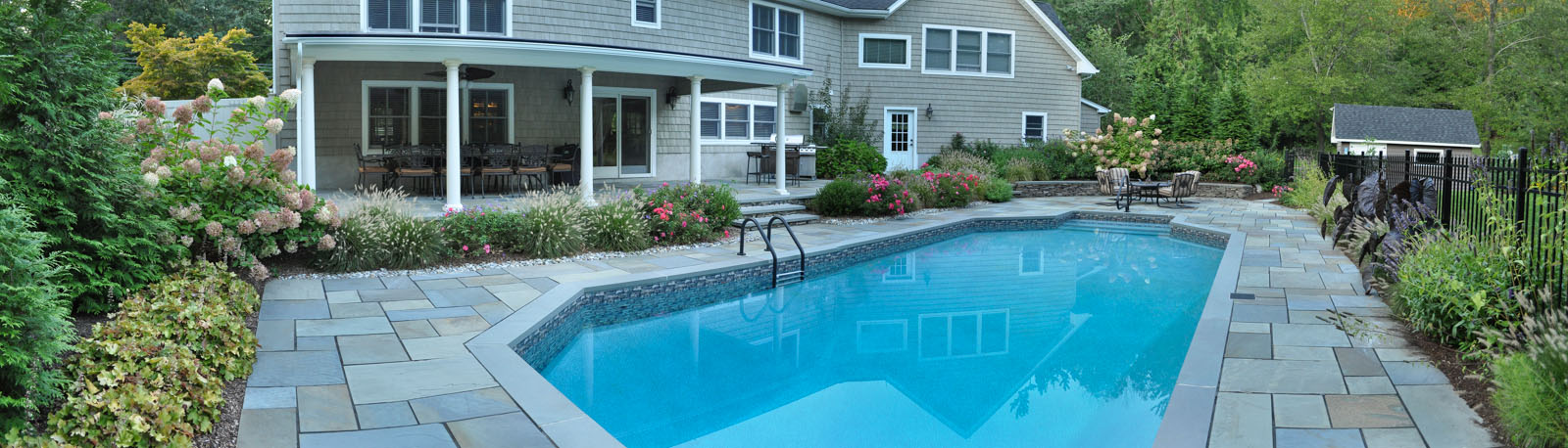before and after landscape pictures, nj swimming pool design