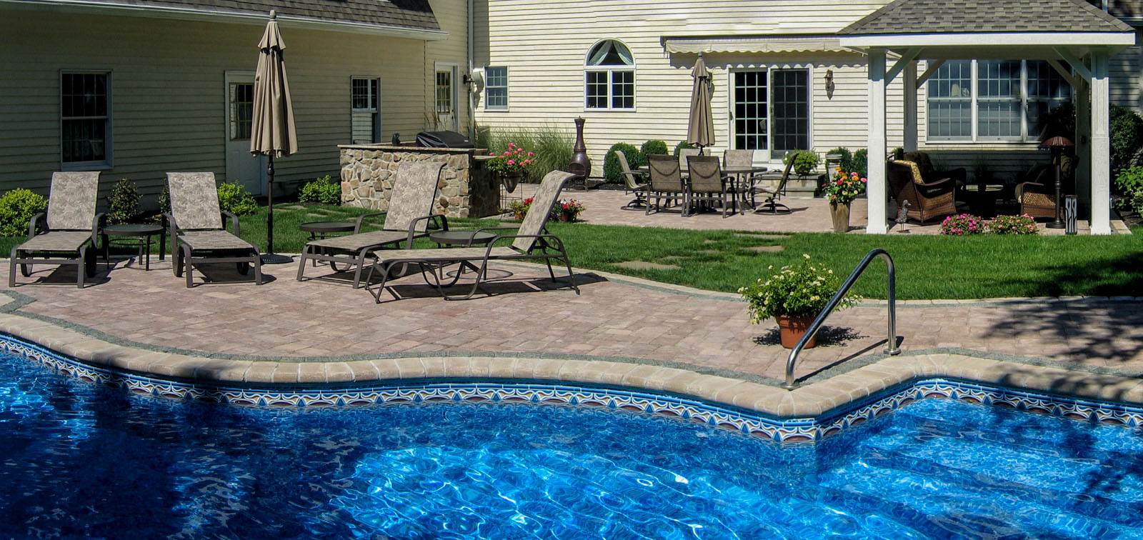 before and after landscape pictures, after, pool design nj