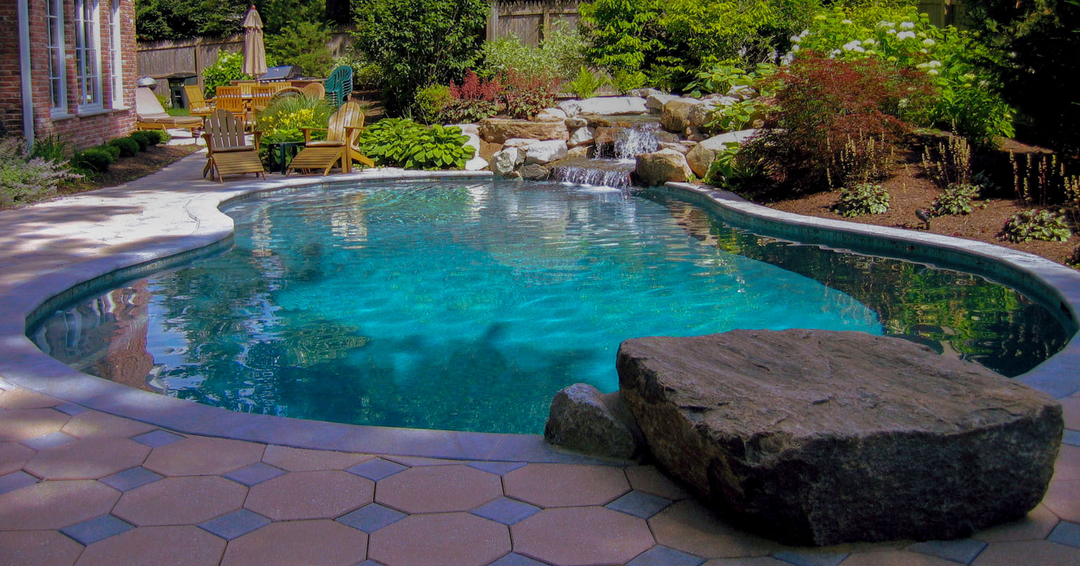 before and after landscape pictures, after, nj pool company, dive rock