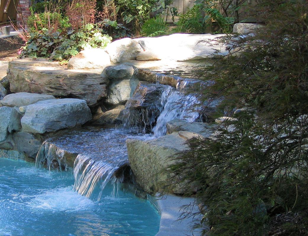 Natural Stone Pool Waterfall - NJ