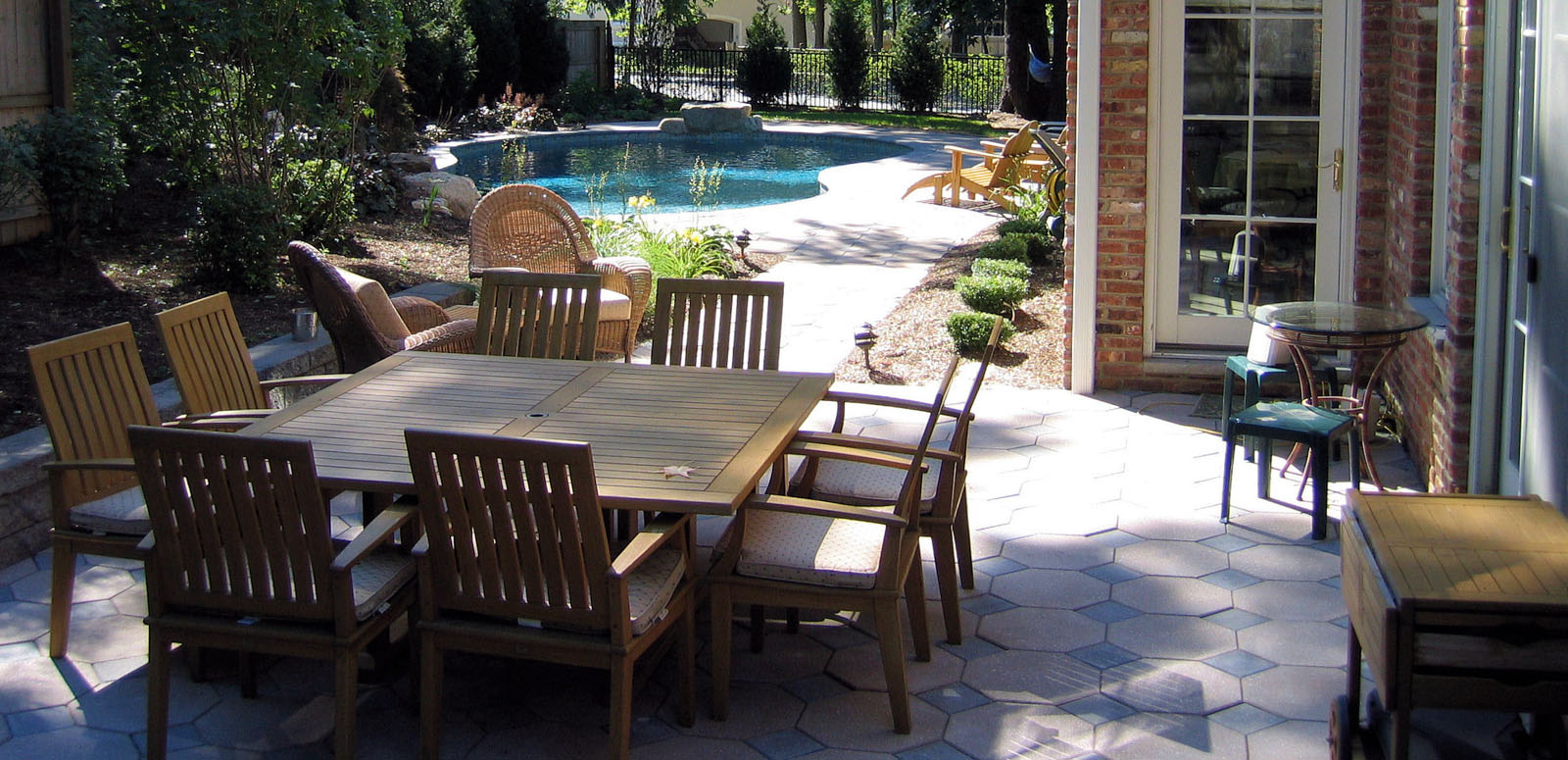 Paver Patio with Pool in Background - NJ