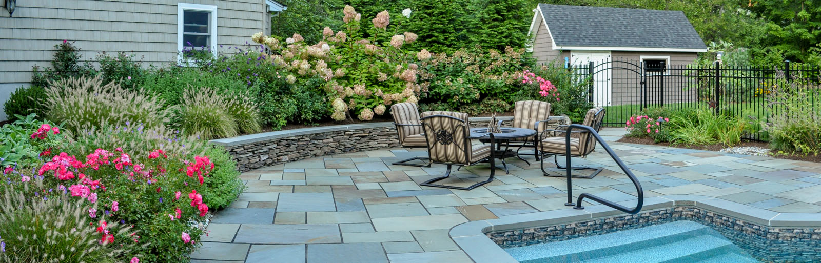 bluestone pool patio and pool landscaping