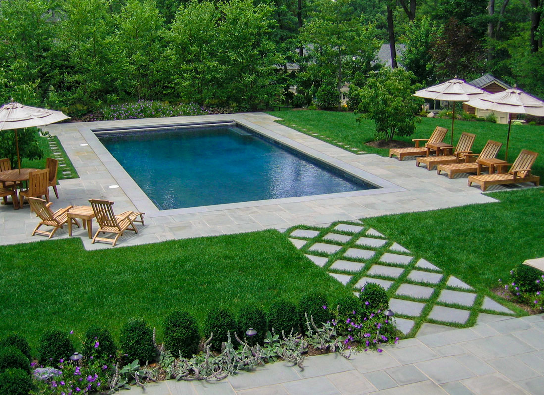 formal pool design, rectangular pool