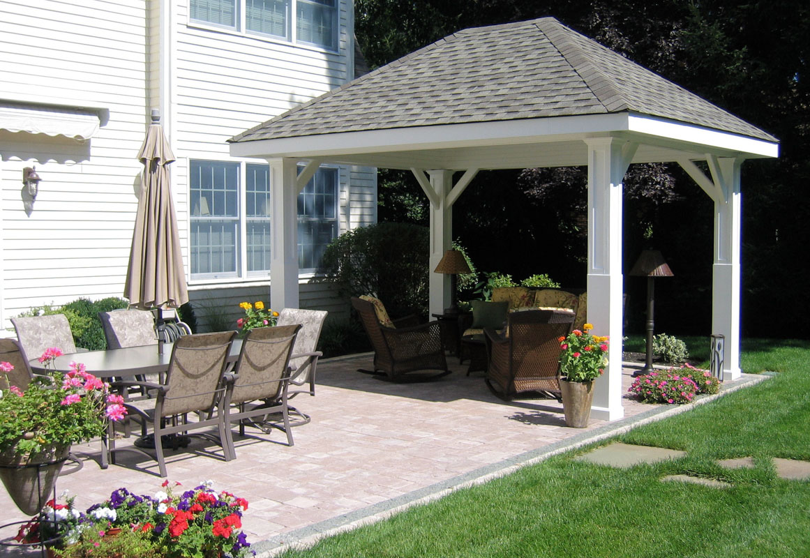 patio design with pavilion