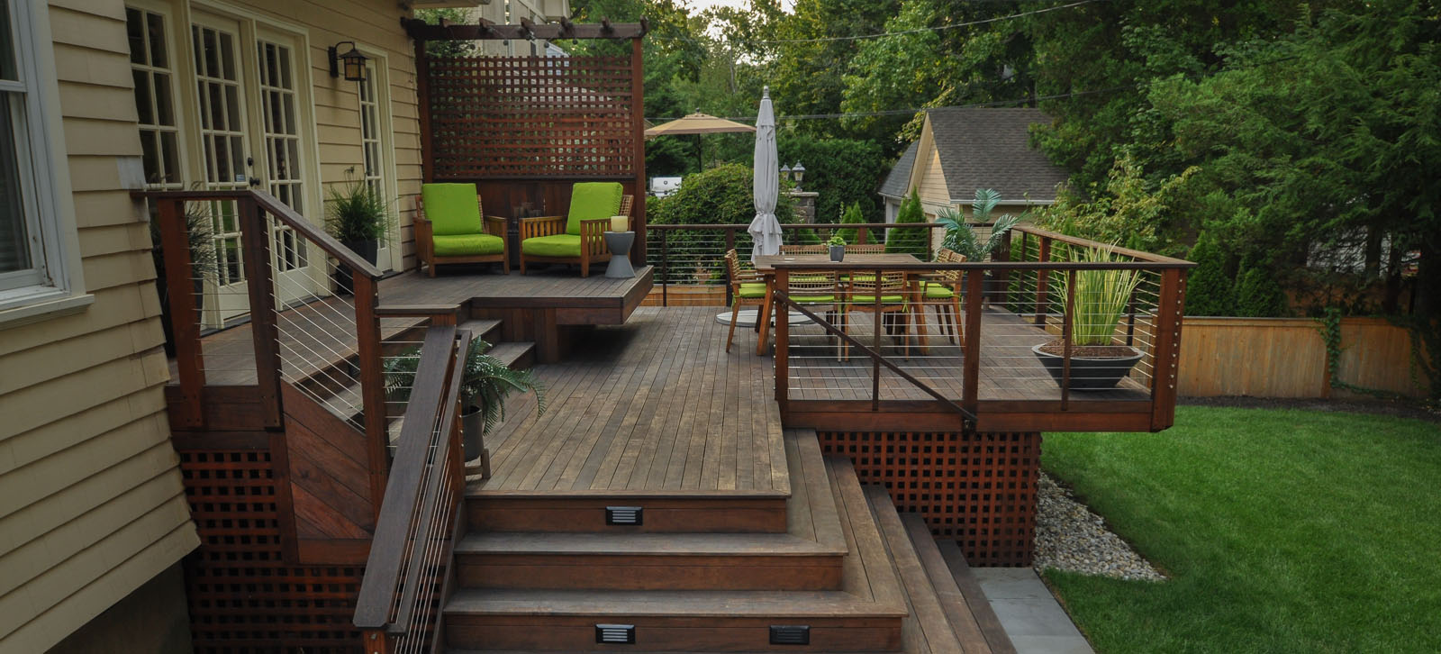 ipe deck with cantilevered bench