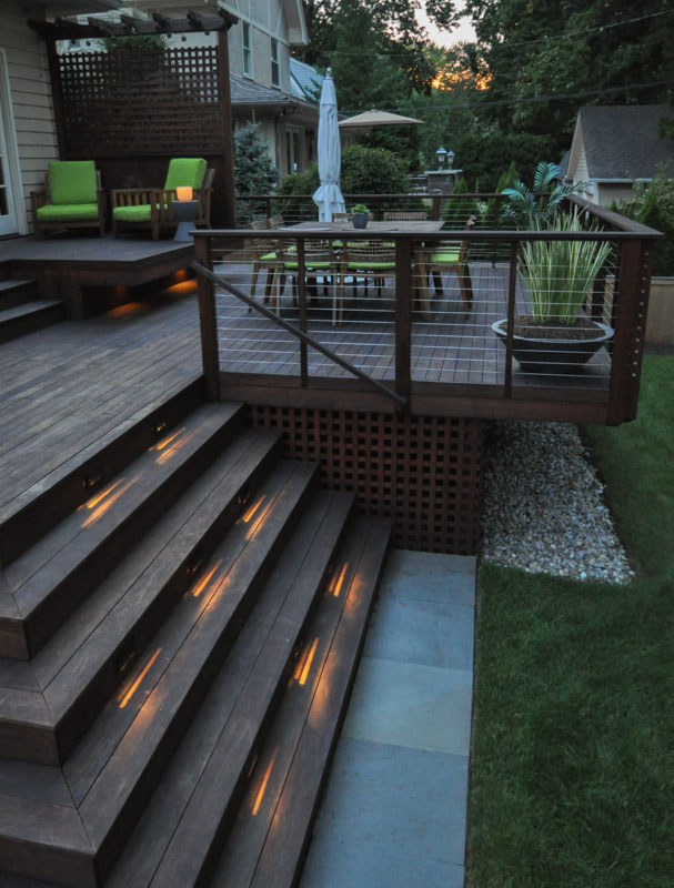 built in step lighting on ipe deck steps