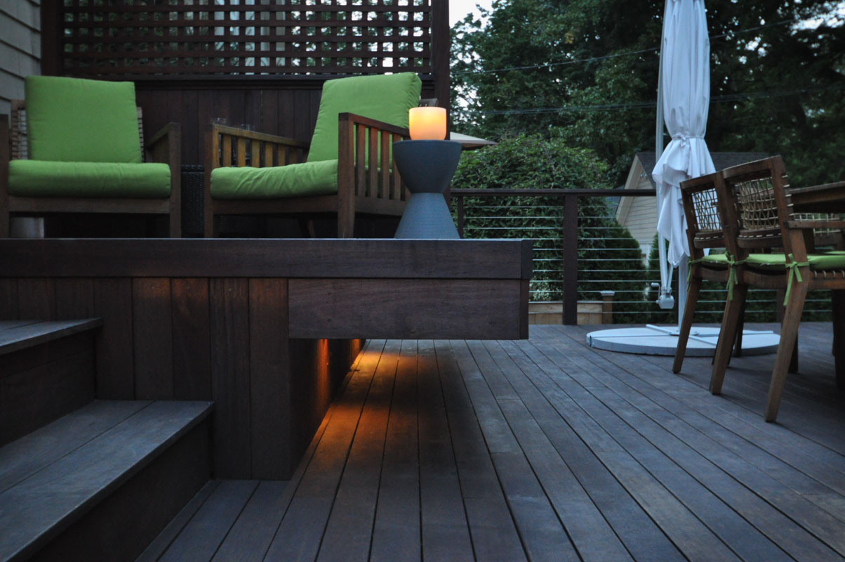 built in lighting underneath cantilevered bench