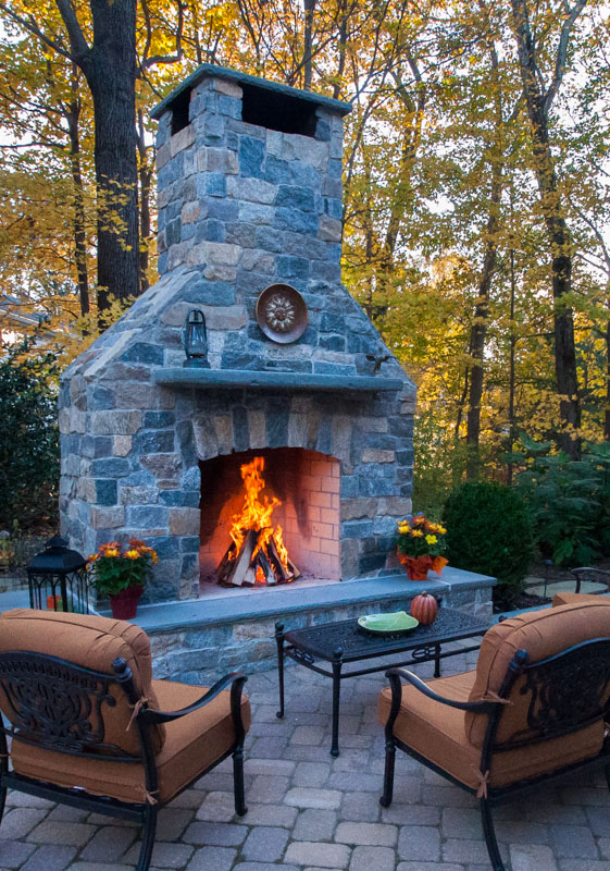 custom outdoor fireplace on franklin lakes, nj patio