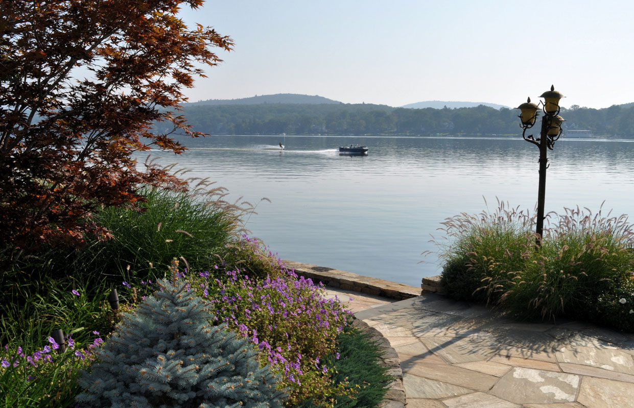 lakeside view, colorful plantings - greenwood lake