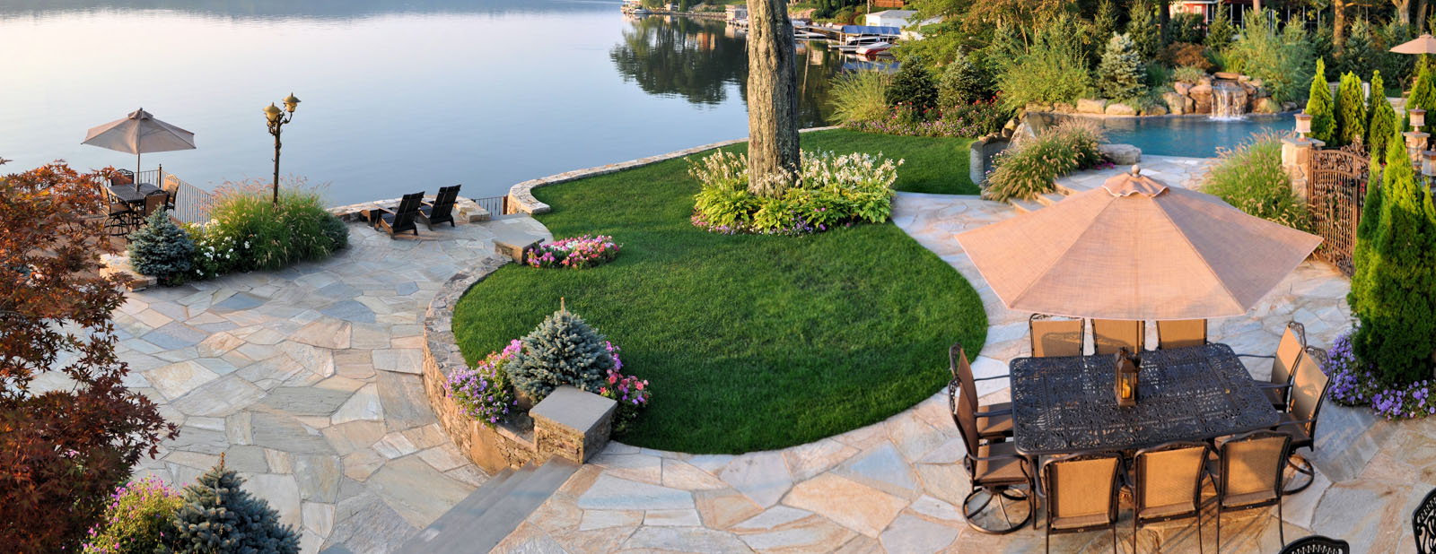 lakeside patio, plantings, pool - nj