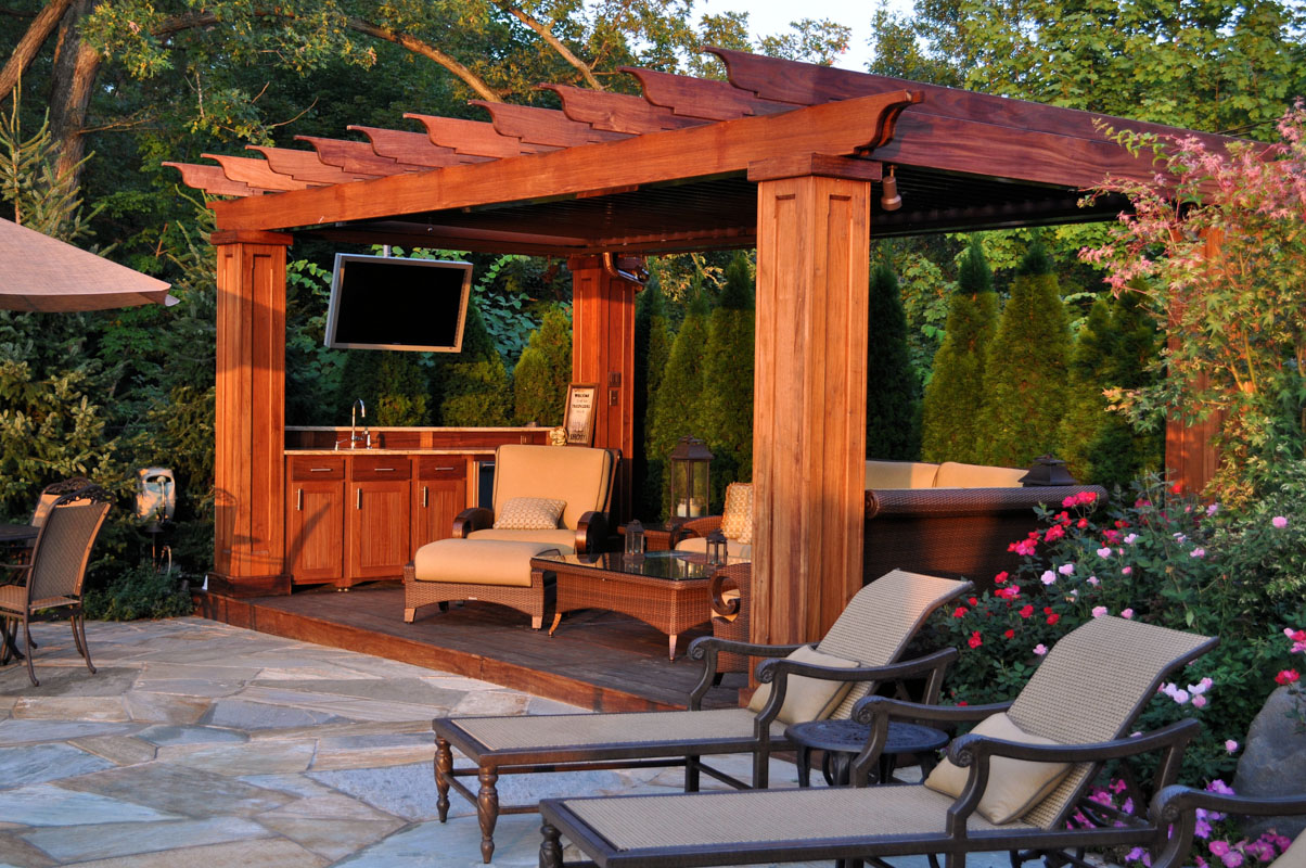 cedar pergola with wet bar and television - nj