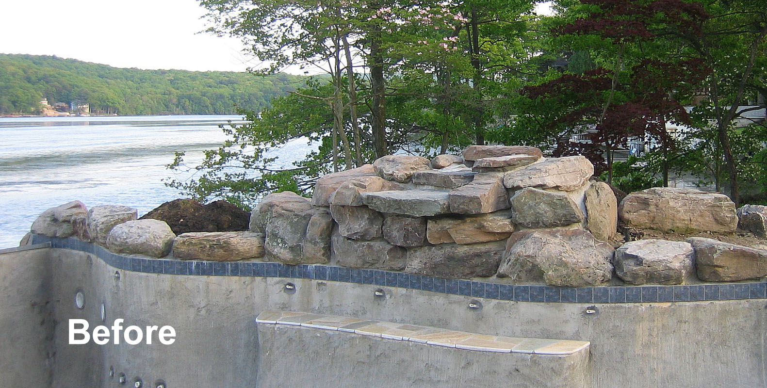 pool waterfall without landscaping - nj