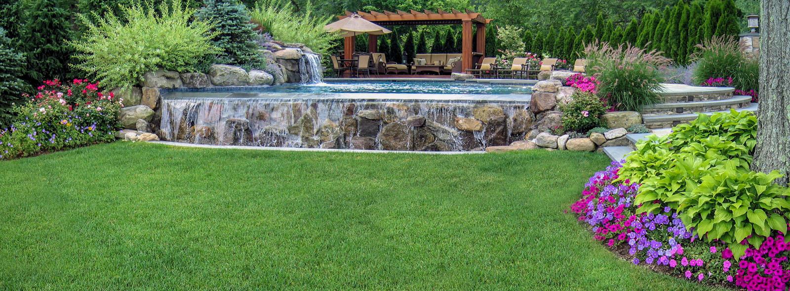 infinity pool, pool landscaping, cedar pergola - nj