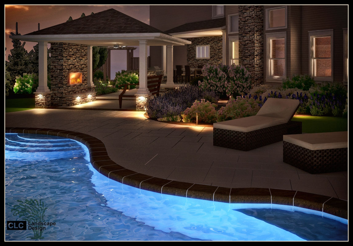 3d rendering showing proposed landscape lighting design