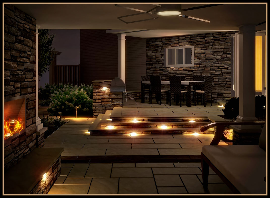 3d rendering showing built in step lighting on raised patio