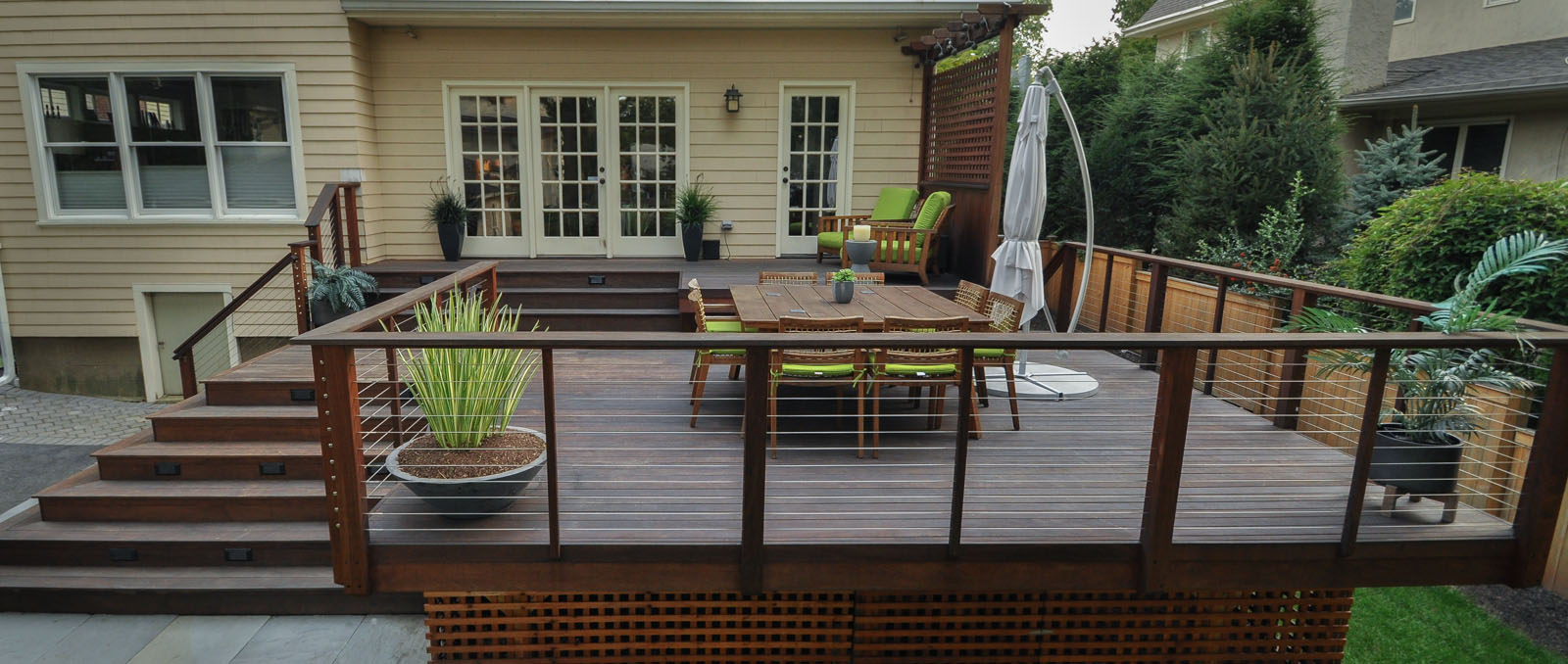 ipe deck, custom cable railing, lattice skirting - north jersey