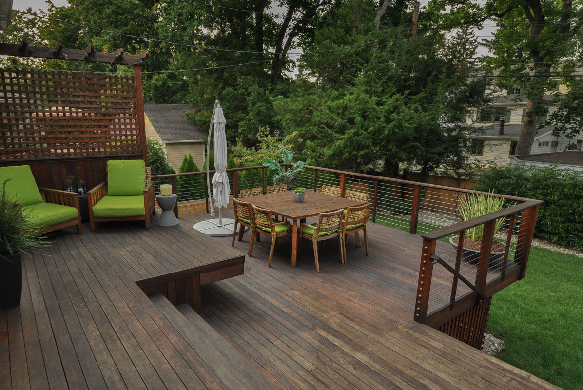 ipe deck with two seating areas - north jersey