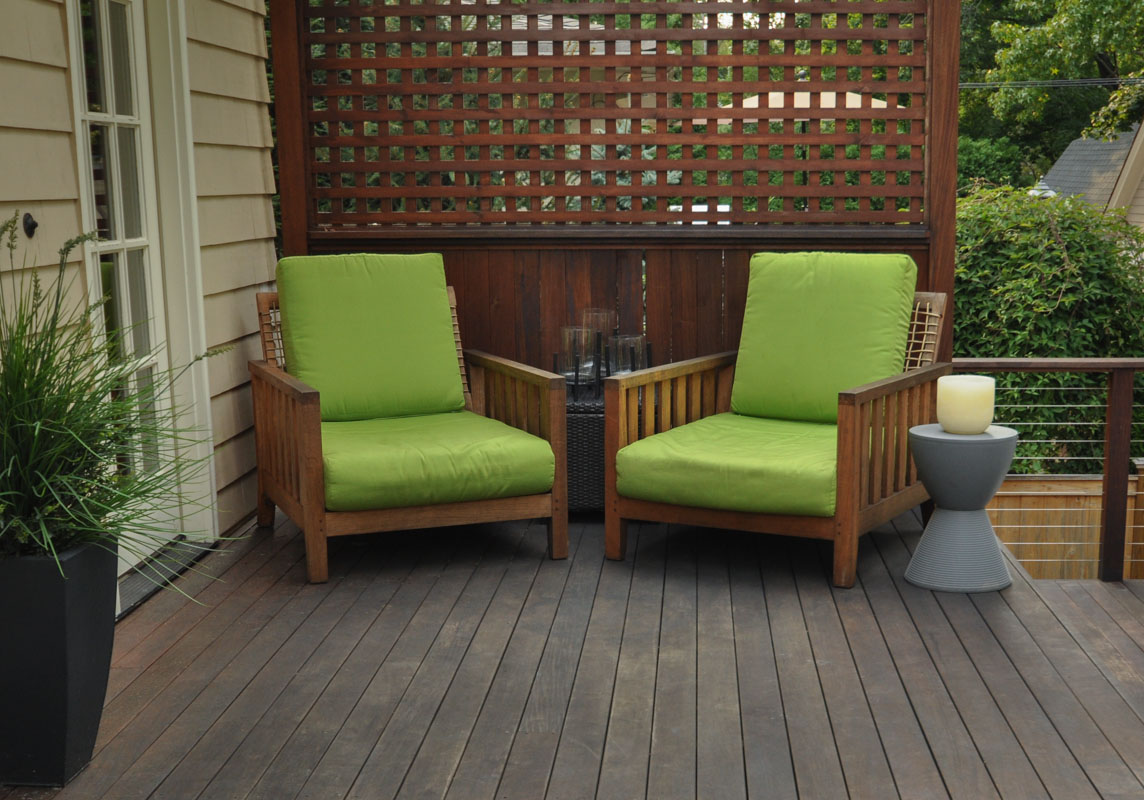 two green outdoor deck chairs - north jersey