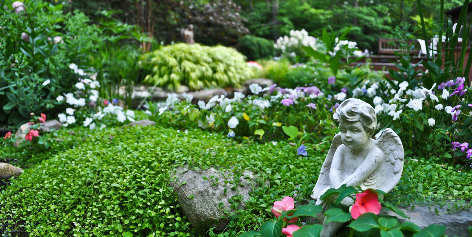garden art in flower garden