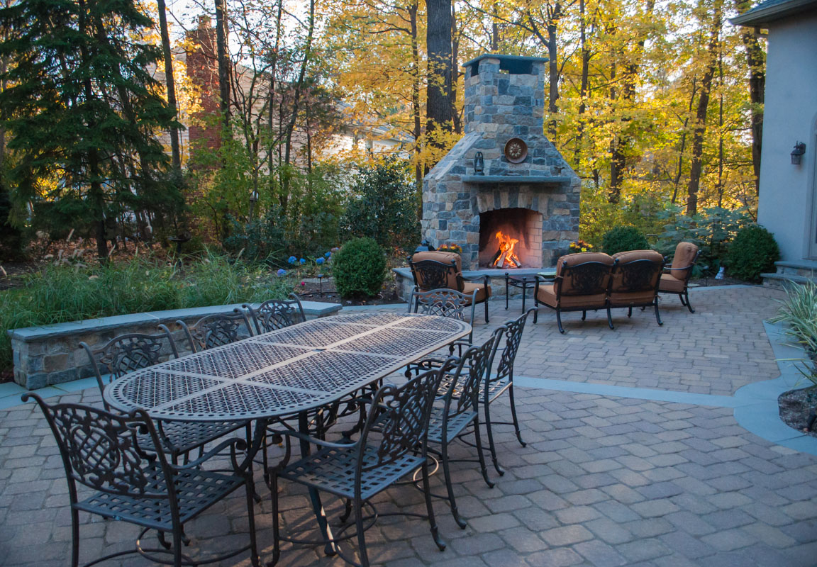 outdoor fireplace, landscape design fire feature