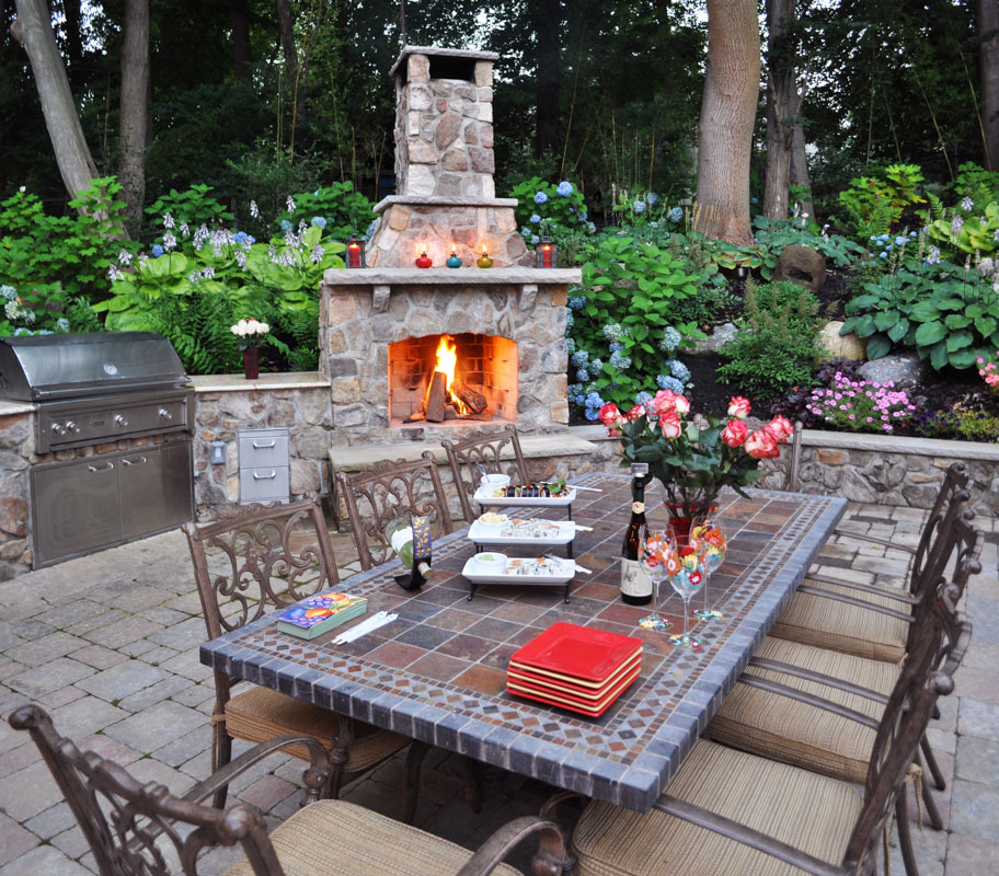 outdoor dining table and fireplace, fire feature