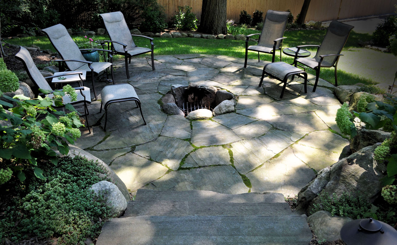 fire pit, built into patio, fire feature