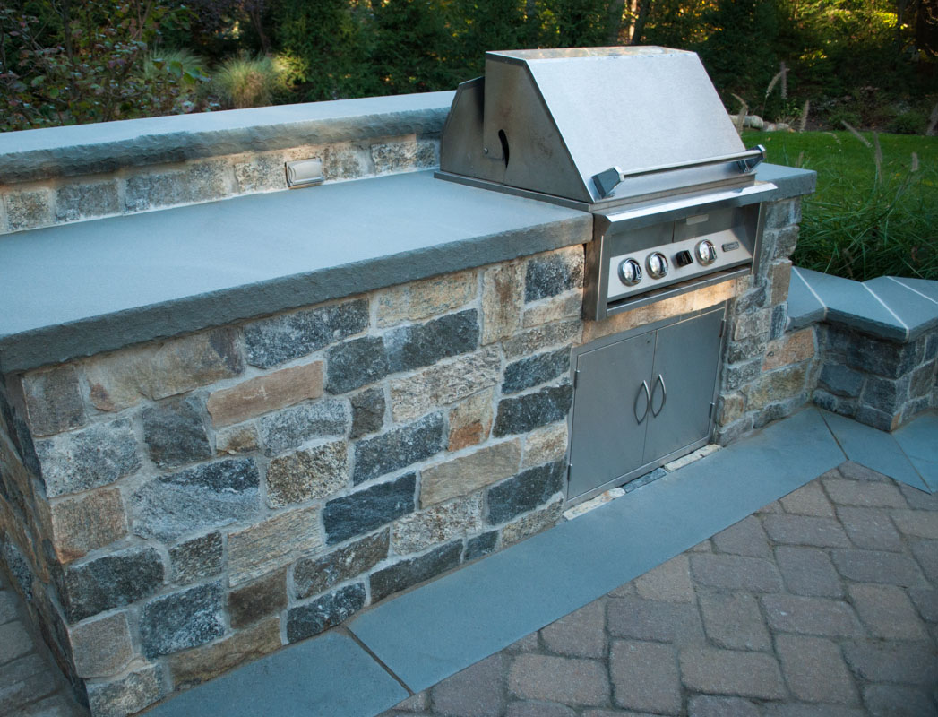 ... Outdoor Kitchen With Built In Bbq. Built In BBQ With Bluestone  Countertop
