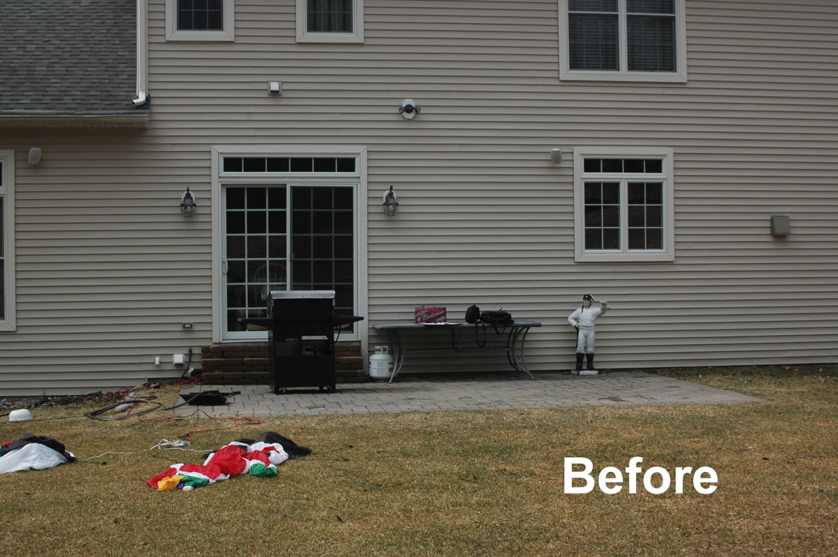 before and after landscaping photo, before photo of backyard - sparta, nj