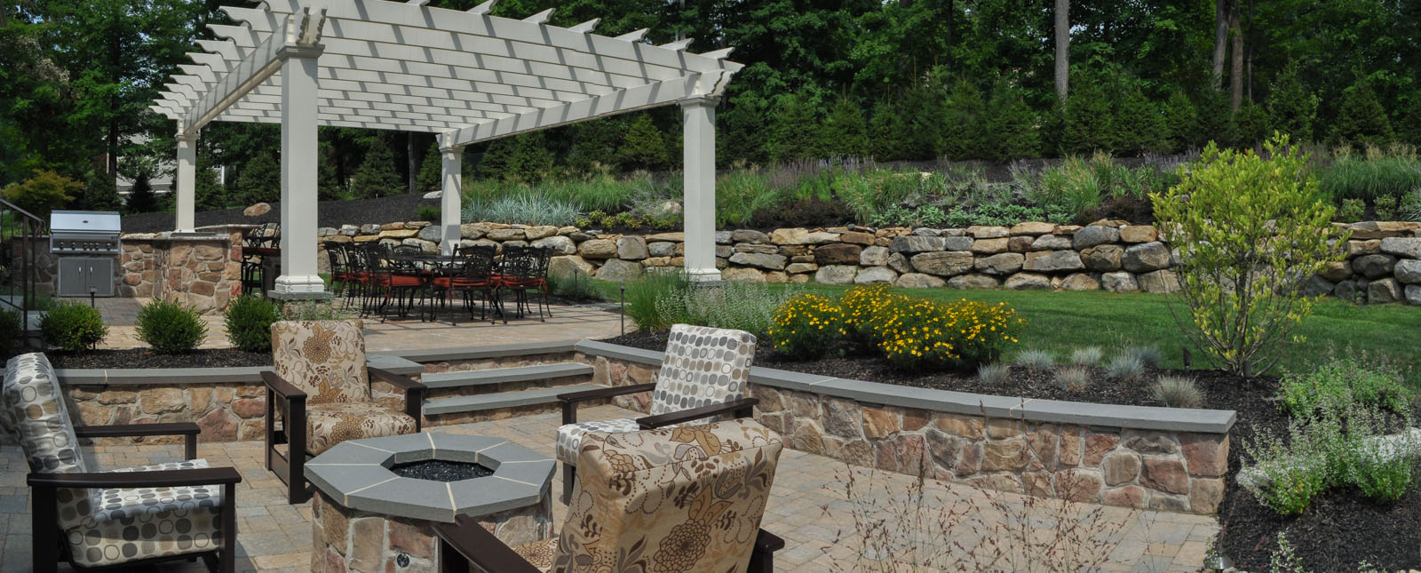 gas fire pit, seat wall, pergola, built-in bbq, landscape design - new jersey