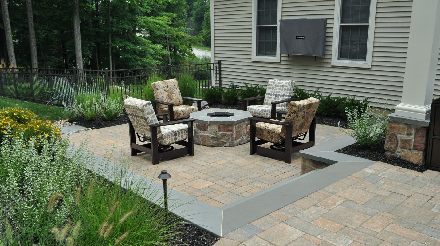 gas fire pit on patio with seat wall - north jersey