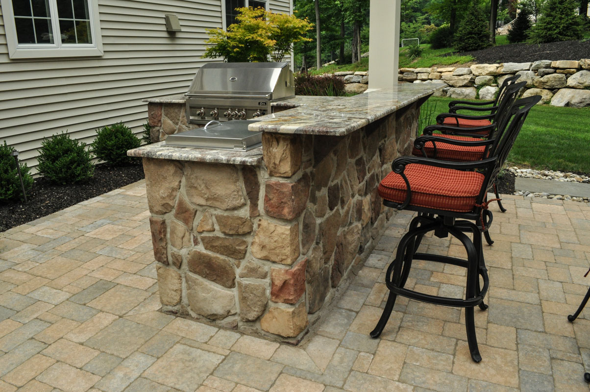 outdoor kitchen with granite countertop, built-in bbq - sparta, nj