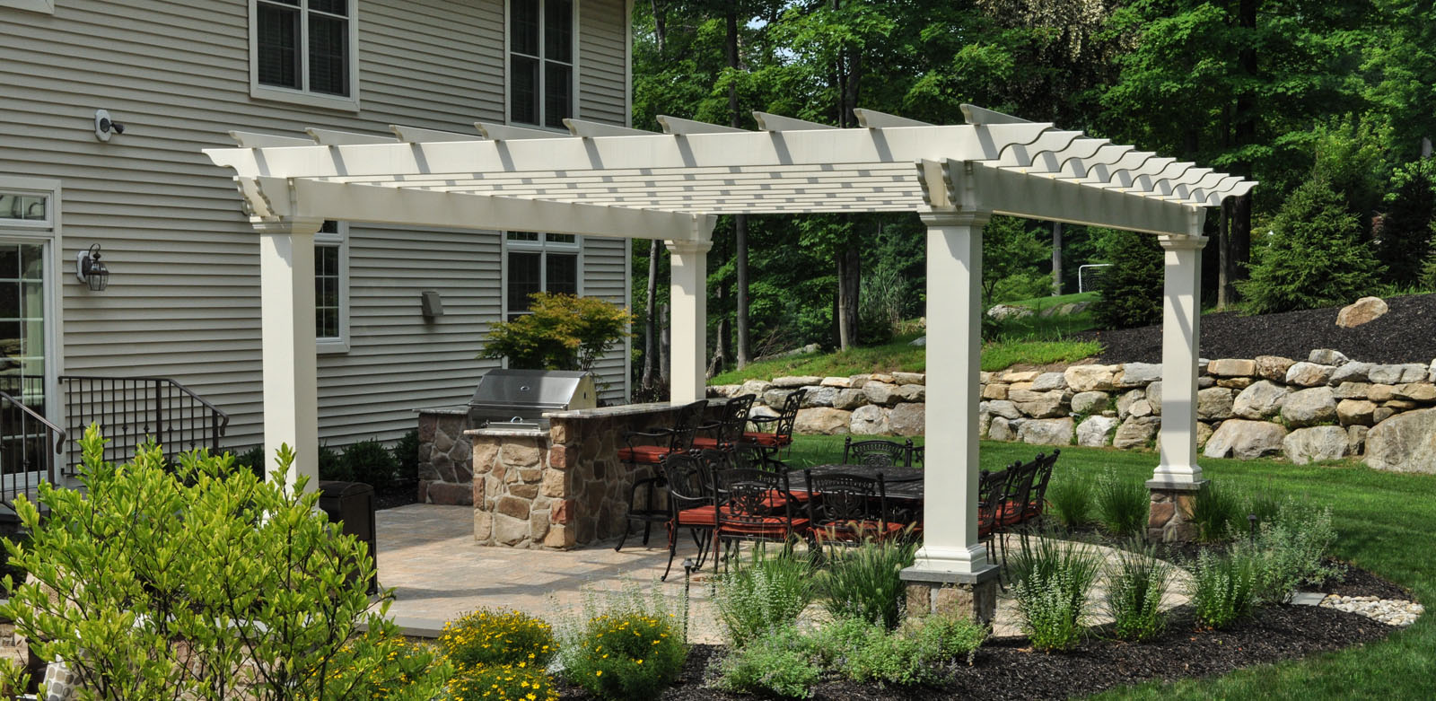 custom white fiberglass pergola, low maintenance pergola - sparta, nj