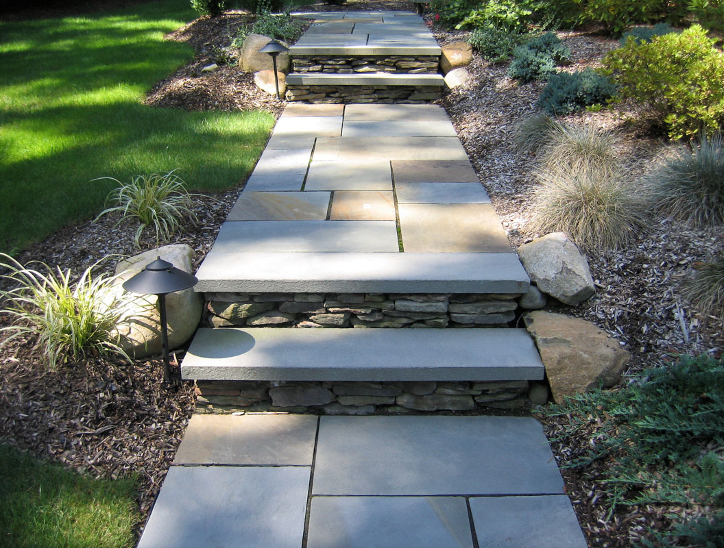 bluestone walkway, slab steps, and path lighting