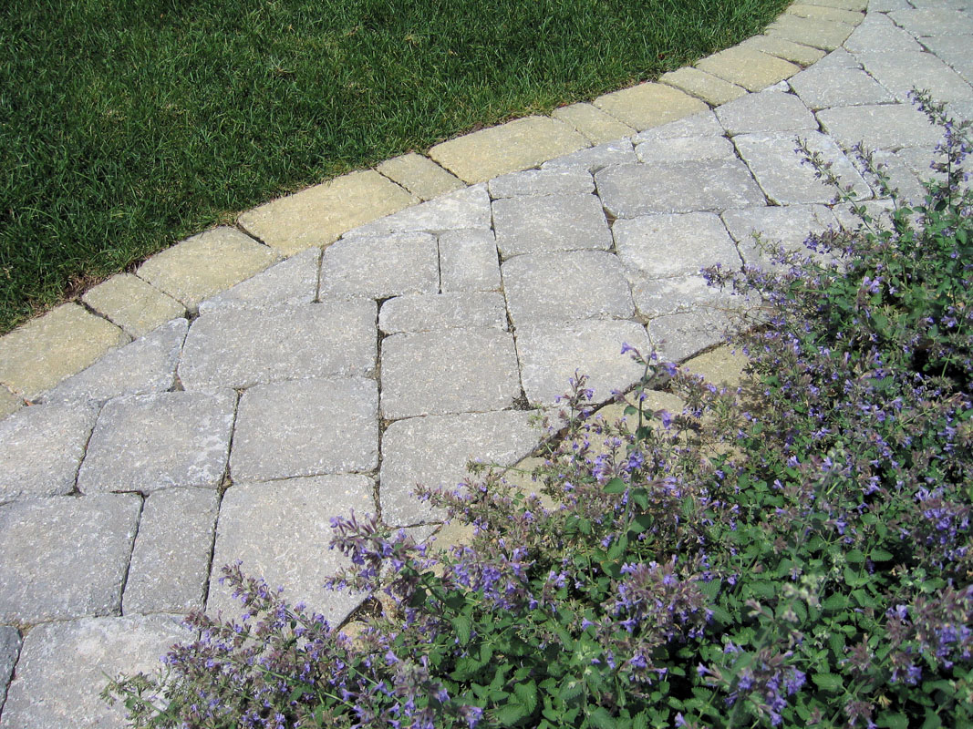 Paver Walkway with Purple Walkway Plantings