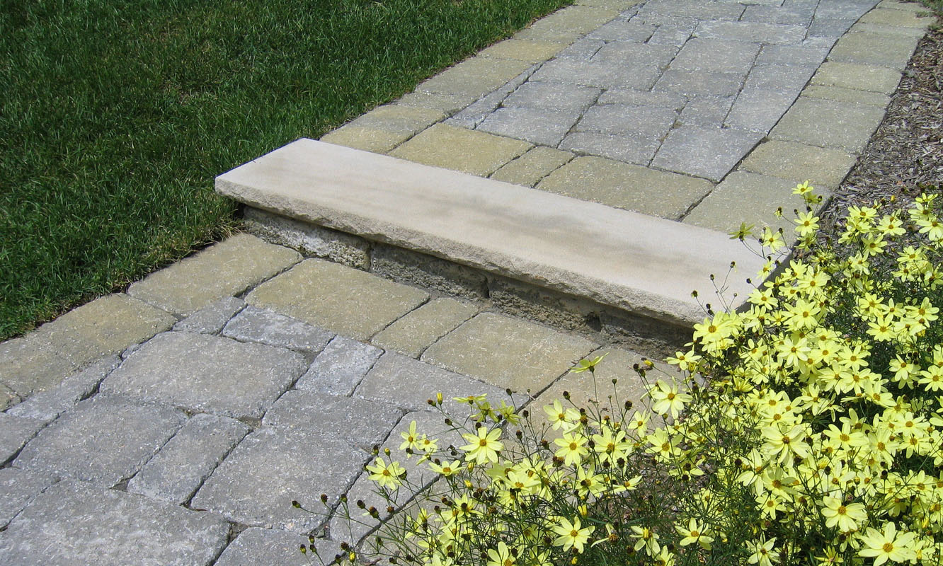 Paver Walkway with Yellow Walkway Plantings