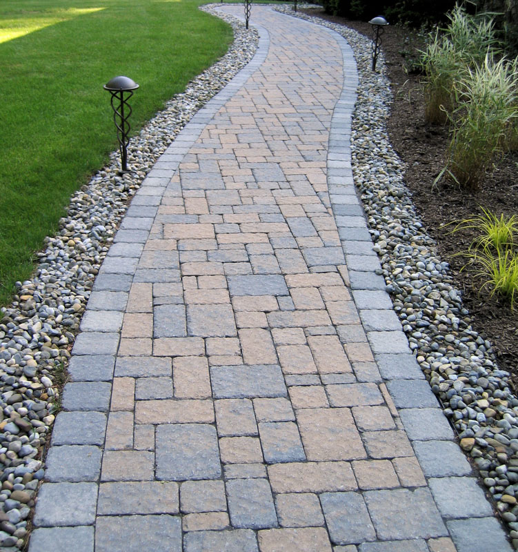 Paver Walkway with Path Lighting
