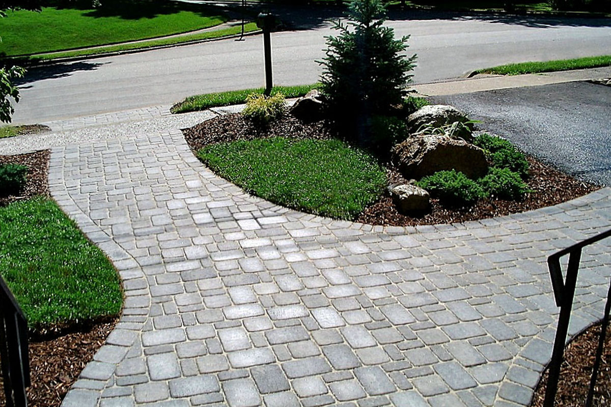 Forked Paver Walkway Leads to Driveway and to Street