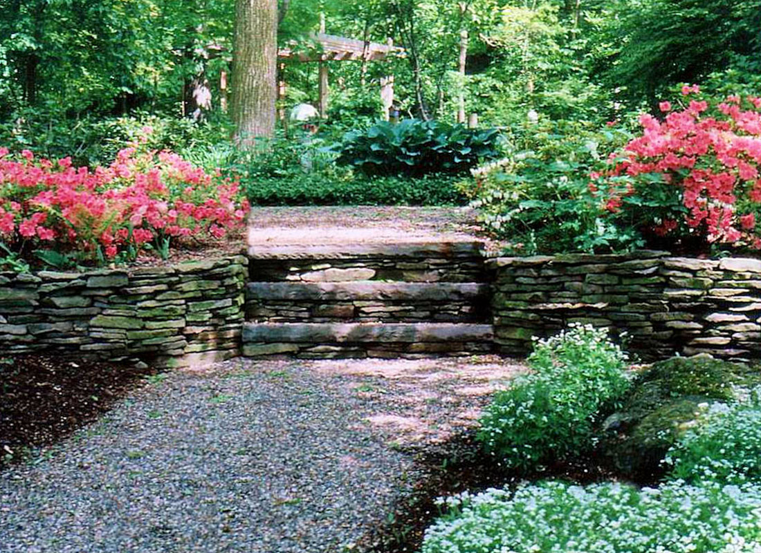 Loose Stone Walkway Winds Through Natural-Looking NJ Landscape