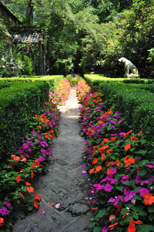 Formal Walkway with Impatiens Planted on Both Sides