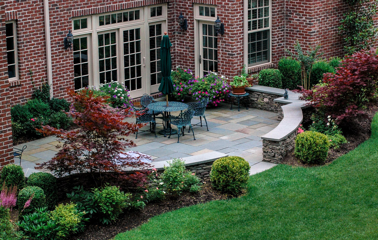 short hills, nj, formal landscape patio, fieldstone wall