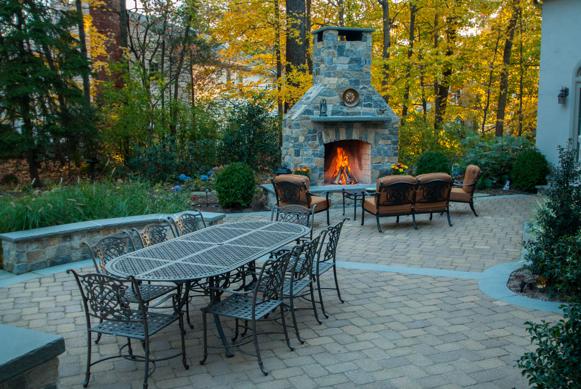 outdoor fireplace and seat wall, granite veneer