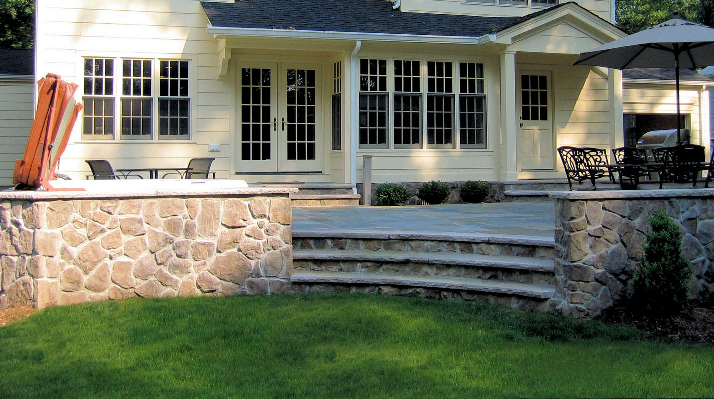 wall and steps with veneer stone, nj patio