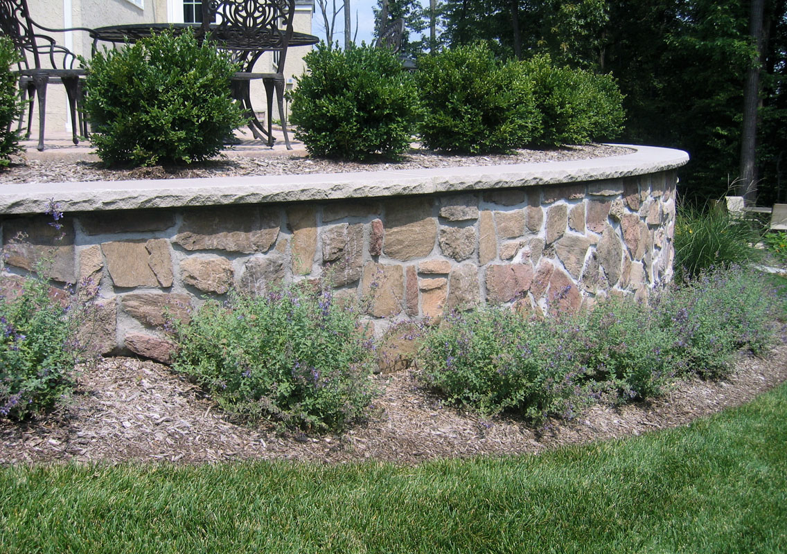retaining wall with veneer stone, nj landscape design