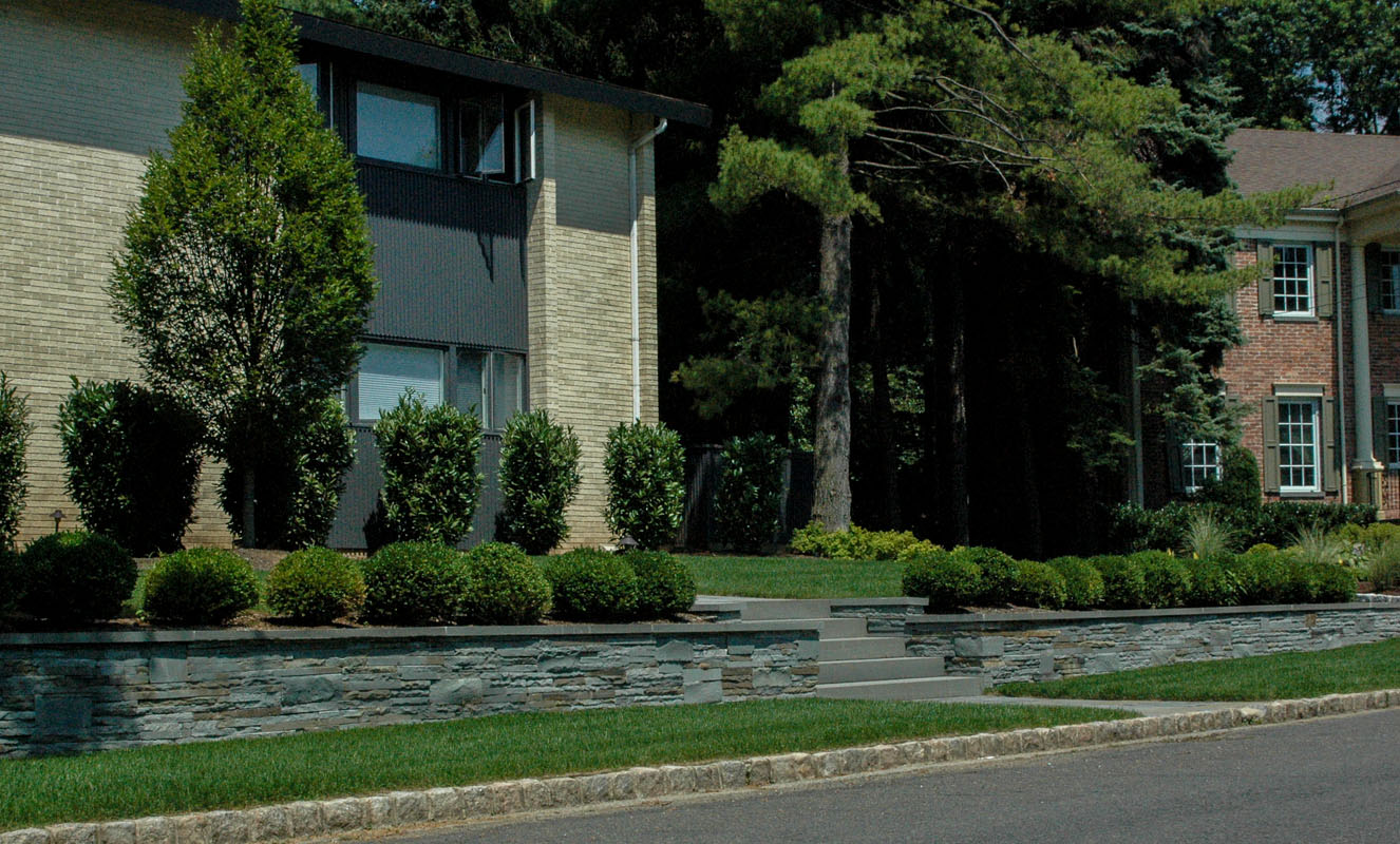 fieldstone wall, commercial landscape design nj
