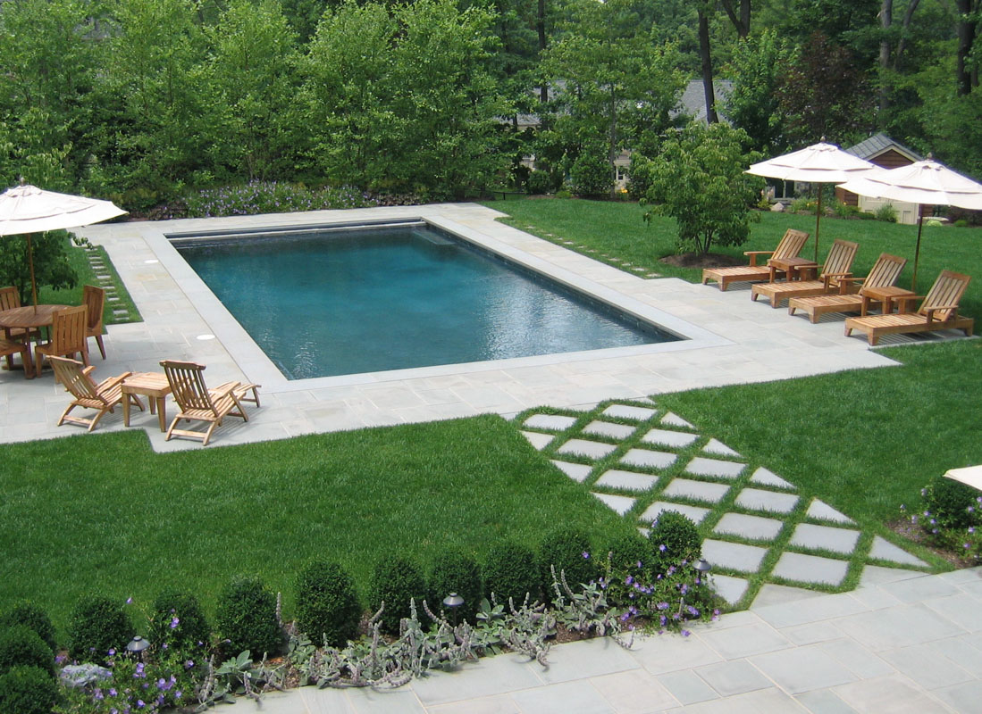 rectangular swimming pool as part of formal nj backyard design. Interior Design Ideas. Home Design Ideas