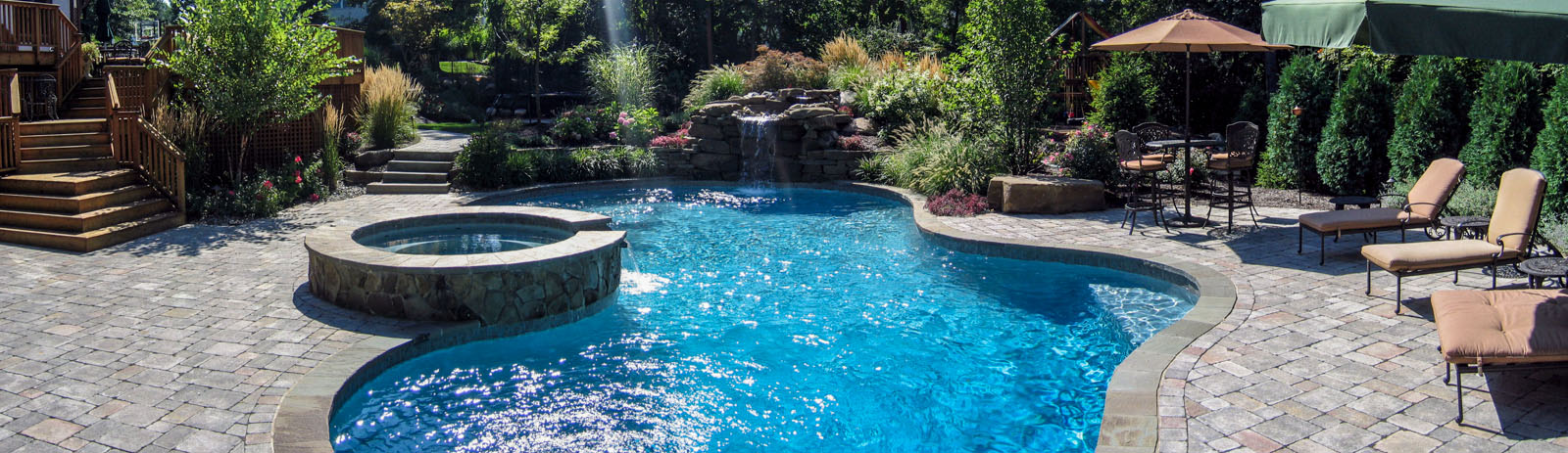 custom swimming pool design in airmont ny, pool waterfall, spa